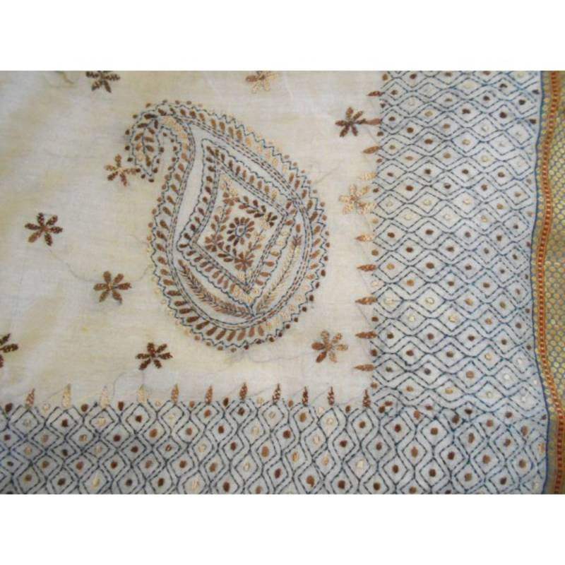 Buy Gold Cotton Saree With Hand Embroidered Kantha Work Online