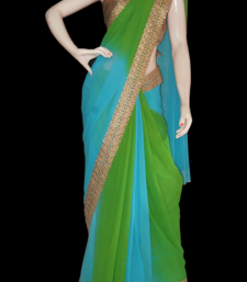 Buy Blue shaded georgette georgette-saree online