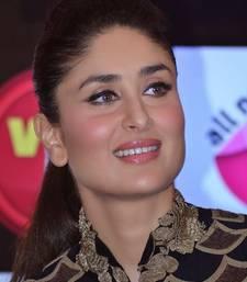 Kareena Kapoor Wear Beautiful Anamika Khanna's Black and Gold Floor-Ankle Long Length Anarkali Frocks Suits 2014