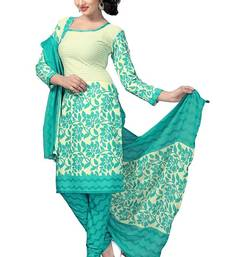 Buy Rama printed crepe and cotton unstitched salwar with dupatta dress-material online