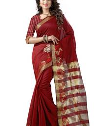 Buy Maroon printed cotton silk saree with blouse kota-silk-saree online