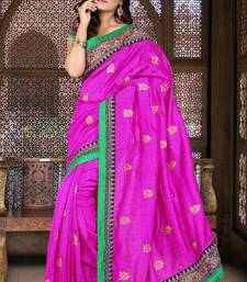 Buy Blooming Pink Color Bhagalpuri Silk Party Wear Saree with Blouse bhagalpuri-silk-saree online