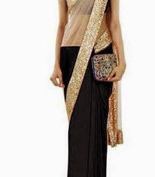 Buy Striking Black & Gold half half Saree georgette-saree online