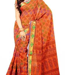 Buy Cotton Saree in Orange. 6405 L. Muhenera Office Wear collection.  printed-saree online