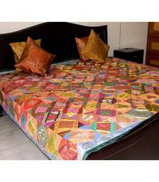 Buy Brocade Square Pattern Bed Set- Green Border bed-sheet online
