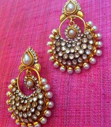 Beautiful pearl dazzle polki flower earring, ethnic Indian Bollywood jewelry c20w shop online