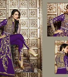 Buy Purple embroidered georgette semi stitched slawar with dupatta malaika-arora-khan online