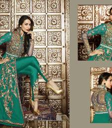 Buy Green embroidered georgette semi stitched slawar with dupatta malaika-arora-khan online