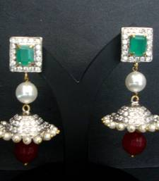 VICTORIAN RED GREEN N WHITE STONE STUDDED PEARLS FANCY JHUMKA shop online