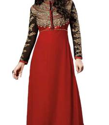 Buy Red plain georgette unstitched salwar with dupatta ethnic-suit online