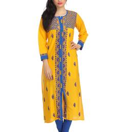Buy Yellow embroidered cotton embroidered-kurtis chikankari-kurti online