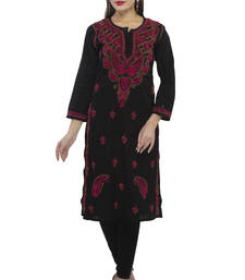 Buy Black embroidered cotton embroidered-kurtis chikankari-kurti online