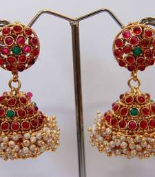 Buy  Round Stud Stone Layered Jumka - Multi Color danglers-drop online