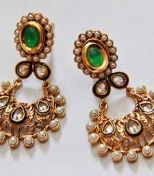 Buy Oval Polki Pearl Earrings - Green danglers-drop online