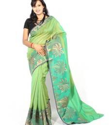 Buy Supernet Fancy  Banarasi Zari Border Saree supernet-saree online