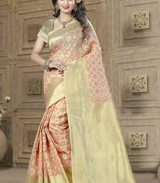 Buy Beige woven banarasi silk saree with blouse banarasi-saree online