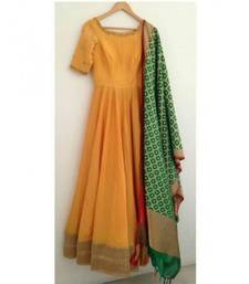 Buy Yellow embroidered banglori silk semi stitched salwar with dupatta dress-material online