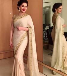 Buy Cream embroidered lycra saree with blouse madhuri-dixit-saree online