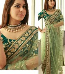 Buy Light green embroidered net saree with blouse party-wear-saree online