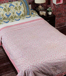 Buy White, Pink & Blue 2 Pc Single Cotton Dohar with Paisley & Checkered Print duvet-cover online