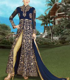 Buy Navy blue embroidered silk semi stitched salwar with dupatta wedding-salwar-kameez online