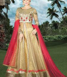 Buy Cream embroidered net semi stitched salwar with dupatta wedding-salwar-kameez online