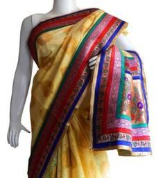 Buy Banarasi Chanderi Art Silk Yellow Saree with Border and Blouse banarasi-silk-saree online