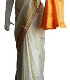 Buy Off White & Yellow Banarasi Silk Saree 17011-2208 banarasi-silk-saree online