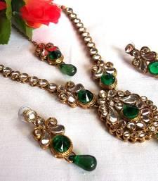 Buy Dark Green Drop Kundan Necklace Set necklace-set online