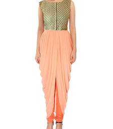 Buy Light orange designer indian kameez dhoti style tunic indowestern online