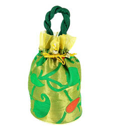 Buy Goldencollections Light Green Hand Pouch potli-bag online
