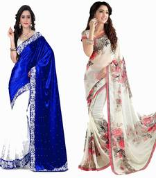 Buy Multicolor printed georgette saree with blouse sarees-combo-sari online