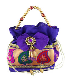 Buy Goldencollections Bluish Leaf Hand Pouch potli-bag online