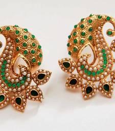 Buy Paisely Halfmoon Studded Earrings - Green danglers-drop online