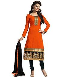 Buy Orange embroidered cotton semi stitched salwar with dupatta cotton-salwar-kameez online