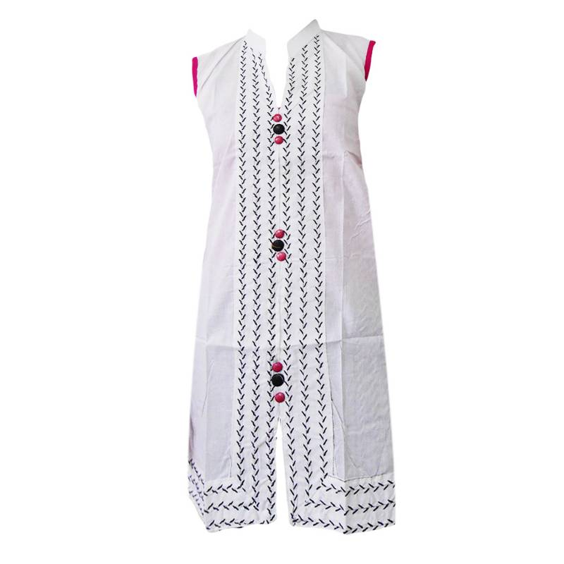 Stand Collar Kurti Designs : Buy stand collar white cotton kurti with pink buttons online