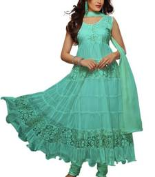Blue Aqua designer hot long anarkali suit by fabfiza shop online