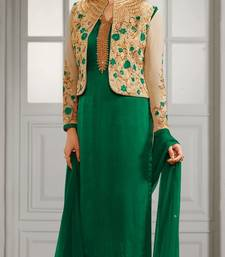 Buy Green embroidered crepe semi stitched salwar with dupatta semi-stitched-salwar-suit online