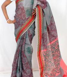 Buy Dupion fancy Aanchal border printed saree art-silk-saree online