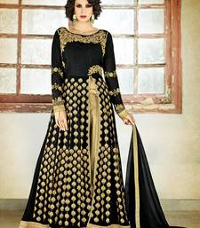 Buy Black embroidered georgette semi stitched salwar with dupatta wedding-salwar-kameez online