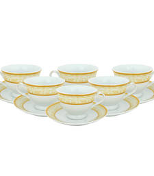 Buy White and golden tea cup saucer set in ceramic for serving tea tea-kettle online