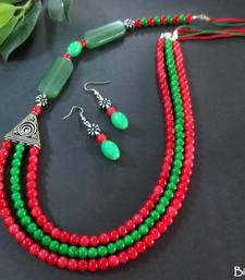 Buy Red_Green3L_Samosa_Silver_Set Necklace online