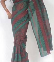 Buy Moonga Check Banarasi Fancy printed saree cotton-saree online