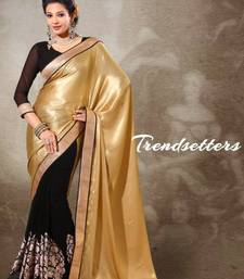 Buy Beige & Black Shoulder Pallu In Satin Georgette Shimmer Saree 378 satin-saree online