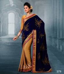 Buy Blue and Beige velvet and pure silk with Sequins & Zari work Saree 379 velvet-saree online