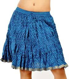 Buy Ethnic Trendy Crushed Blue Cotton Short Skirt skirt online