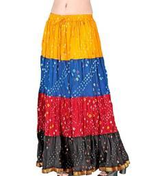 Buy Bandhej Multi -colour Exclusive Cotton Skirt skirt online
