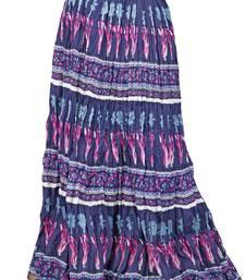 Buy Jaipuri Design Midnight -Blue Cotton Long Skirt skirt online