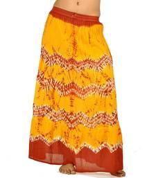 Buy Ethnic Yellow n Red Bandhej Cotton Long Skirt skirt online