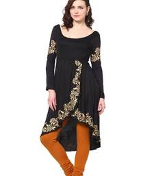 Buy kukn089 Viscose Black Tulip Sahped Kurti kurtas-and-kurti online